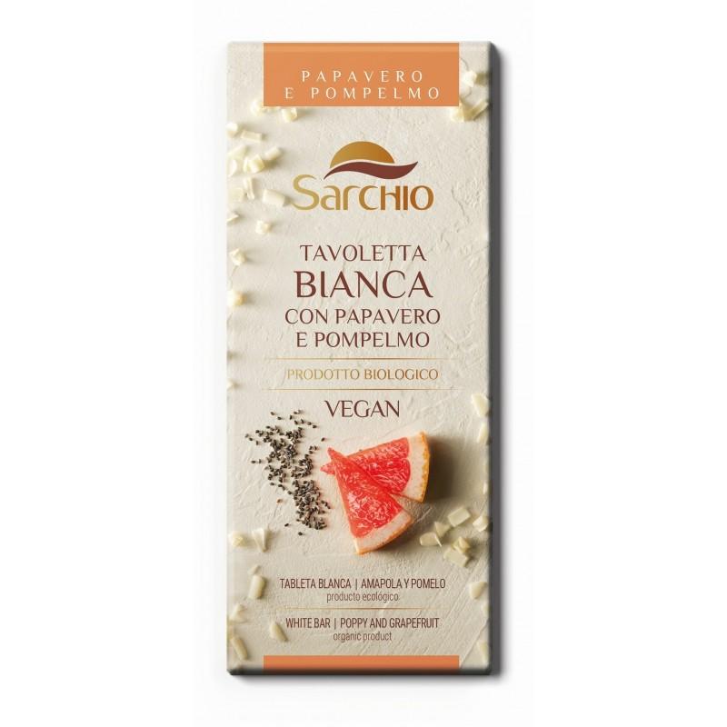Tableta de cicolată albă cu semințe de mac și grepfrut - Sarchio