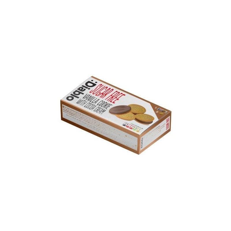 Biscuiți sandviș  fără zahăr cu vanilie și cremă de cacao - Diablo
