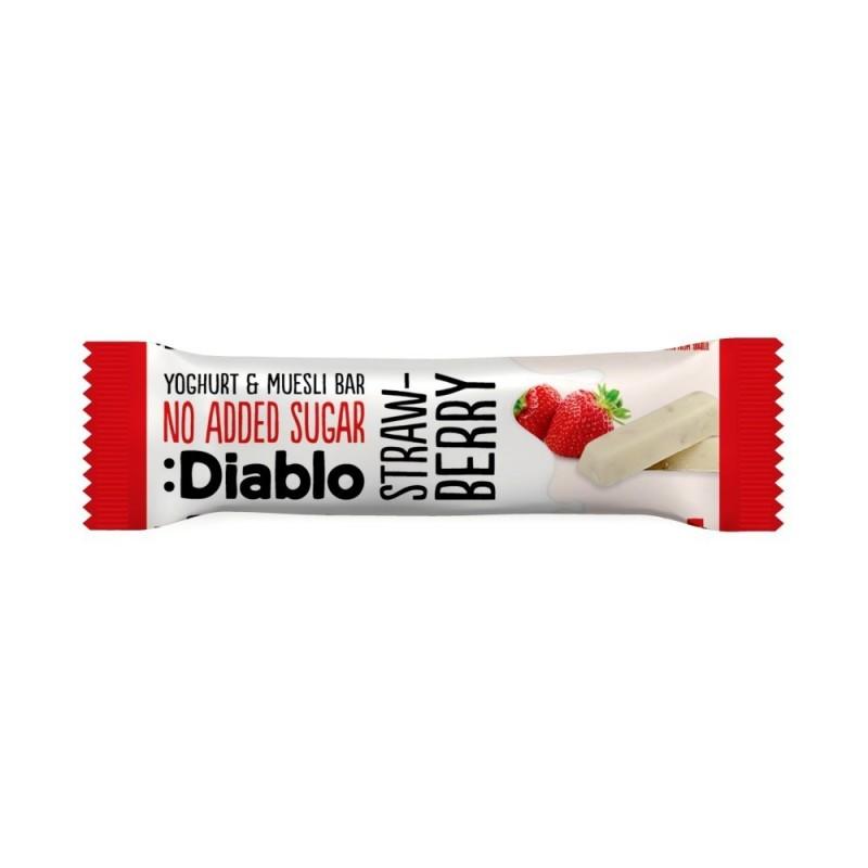 Baton musli  fără zahăr cu căpșune și glazură de iaurt - Diablo