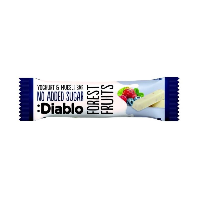 Baton musli  fără zahăr cu fructe de pădure și glazură de iaurt - Diablo
